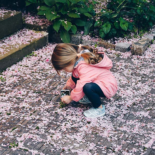 Girl playing with petals